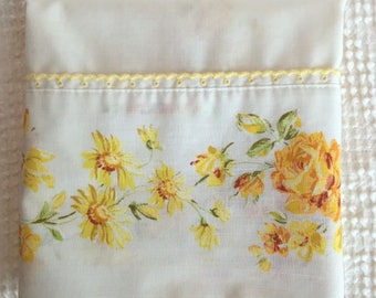 Vintage Pillow Case with Yellow Roses and Yellow Daisies - Beautiful