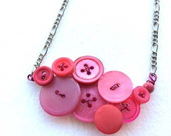 Christmas in July Sale Geranium Fuchsia Coral Pink Vintage Button Necklace