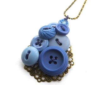 BUTTON JEWELRY SALE Cornflower Blue Filigree Vintage Button Pendant Necklace
