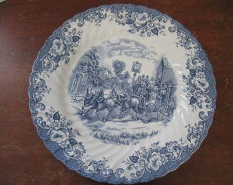 Vintage Johnson Brothers Ironstone Plate Coaching Scenes