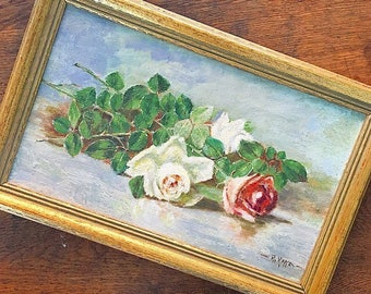 A Rose By Any Other Name... Antique Canvas Oil Roses Painting Framed Artwork Wall Hanging Handmade