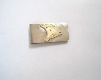 Antique pocket watch part money clip- A.A.W-beautiful script!