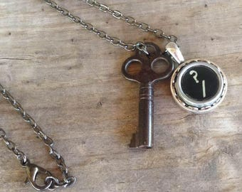 SALE Skeleton Key Necklace Typewriter Key Question Mark Vintage Antique