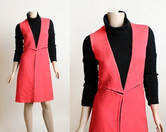 Vintage 1970s Dress - Ski Bunny Winter Thick Knit Red & Black Color Block Mod Dress - Retro Star Trek Space Age Futuristic - Small XS