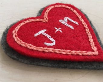 Sew-on Patch, Valentine's Gift, Initial Heart Patch, Embroidered Heart, Personalized Gift, Hand Embroidered Patch, Cupid Heart, Jacket Patch