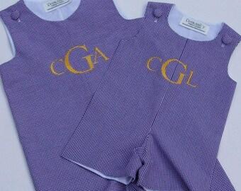 Monogrammed Jon Jon,  Jumper with Monogram, Personalized Gingham Shortall, Embroidered Romper, Dress with Monogram
