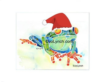 Frog for Christmas Print of Watercolor Painting - Frog Art Prints - Frog Gifts - Artist JoLynch