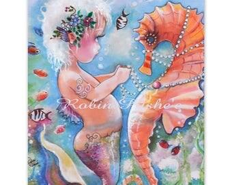 Toddler Mermaid , Seahorse and Pearls, Original Art