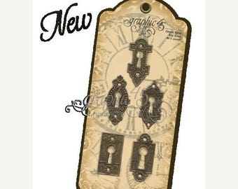 NOW ON SALE Graphic 45 Staples  Metal Key Holes