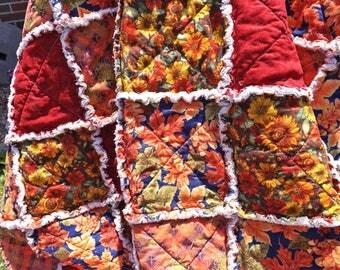Autumn Leaf Lap Rag Quilt - Fall Colors Quilt - Fall Leaves Quilt - Autumn Flower Quilt - Rag Quilt - Autumn Quilt