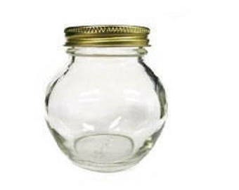 1 pc 12 oz Globe Glass Jar with Choice of Color Lid