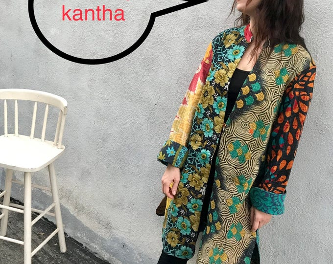 Reversible cotton kantha duster
