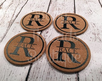 Monogrammed Cork Coasters Set of 4