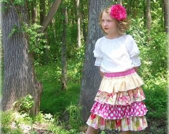 SALE Ruffle Skirt Pattern Tutorial ebook -- Ruffled Up Skirt -- sizes 6m through 16 Girls PDF Instant