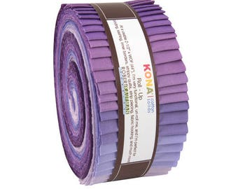 "Robert Kaufman Kona Cotton Solids LAVENDER FIELDS Roll Up 2.5"" Precut Fabric Quilting Cotton Strips Jelly RU-437-40"