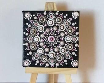 Mini Dot Art Mandala Painting - 3 X 3 Canvas With Mini Easel Display - Folk Art - Pinks Browns Black White - FREE USA SHIPPING