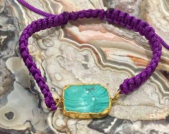 Dara Ettinger Purple Macrame Friendship Bracelet with 14kt gold plated Malachite Square