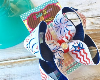 SALE//End of Summer Red White and Blue Twisted Boutique Bow