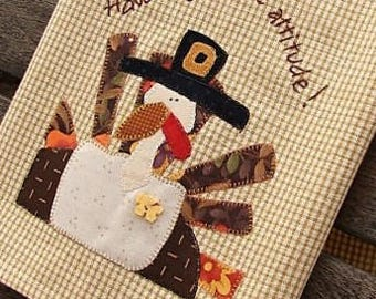 Turkey Tea Towel | Gratitude Embroidery | Thanksgiving Kitchen Decor | Appliqued Hand Kitchen Towel | Gold Cream Mini Check | Holiday Decor