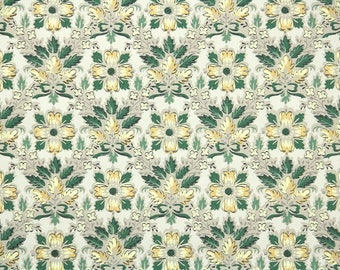 1940s Vintage Wallpaper by the Yard - Green Yellow and Taupe Old World Geometric Style Floral
