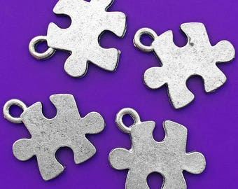 2 Puzzle Piece Charms, Antique Silver Tone, about 18mm x 15mm with a 2mm hole