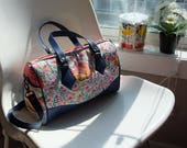 Foxy Business Blanche Barrel Bag, shoulder bag, detachable strap, Tula Pink Chipper, fabric and vinyl handbag, unique purse