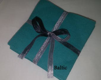 Solid BALTIC blue green, FLANNEL Fabric Squares,  Rag Quilt, Traditional Quilting, pick size & quantity, We Cut You Sew