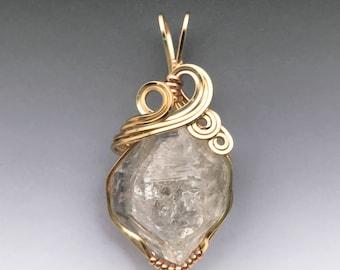 Herkimer Diamond Quartz 14k Yellow  Gold-Filled Wire Wrapped Pendant - Ready to Ship!