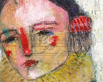 RESERVED for K., Abstract Mixed media folk art Portrait by Mystele
