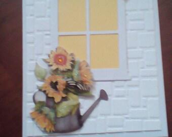 Yellow, window birthday card