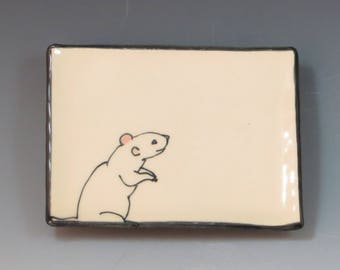 Handbuilt Ceramic Soap Dish with Rat