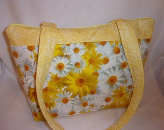 Spring daisies yellow white handbag tote purse  3 sizes great for all ages add a name great for a birthday mothers day wow 10 pockets