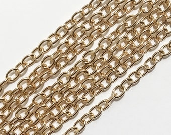 Bulk 50 ft  light Gold plated steel round cable chain 4X5mm , gold bulk chain