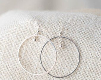 Hammered Sterling Silver Circle Earrings
