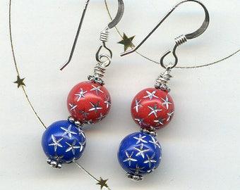 Patriotic Sterling Silver Earrings
