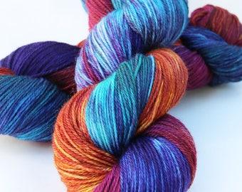 "Hand-dyed Superwash Merino Nylon Sock Yarn, 430 yards 4 oz,  fingering weight, Turquoise Purple Magenta Orange ""Immersed"""
