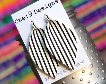 Striped leather earrings- front and BACK - Joanna Gaines inspired