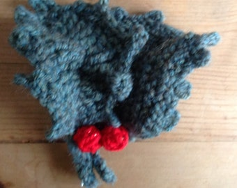 Crocheted and knitted Holly and berry brooch