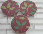 "Christmas Holly 2"" Sticker Set or Envelope Seals For Christmas, Holiday Cards or Gift Wrap. Pack of 20 Holiday Stickers, Burgundy Holly"