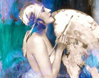 HUGE SUMMER SALE 40% off Living in a Box of Paints,  Fine Art Print, Vintage, Modern, Blue, Aqua, Indigo, Woman Portrait  8x10 Archival Gicl