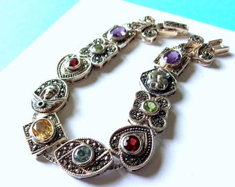 Sterling Silver Multi-Gemstone and Marcasite Slide Bracelet