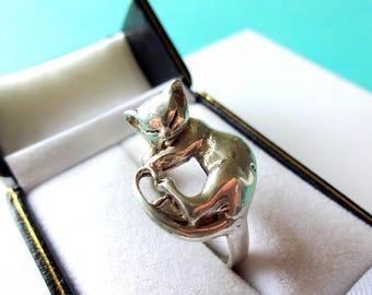 Sterling Silver 3-D Sleeping Kitten Ring Size 7.75