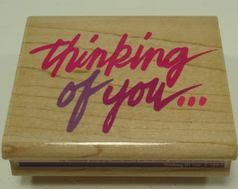 Thinking Of You Wood Mounted Rubber Stamp By Rubber Stampede Posh Impressions, Z-189-E