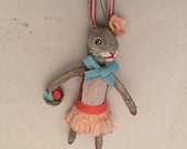 Spun Cotton Grey Bunny Rabbit with basket feather tree ornament by Maria Paula