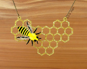 READY MADE SALE - The Bee's Knees - Honeycomb Necklace - Laser Cut Necklace (C.A.B. Fayre Original Design)