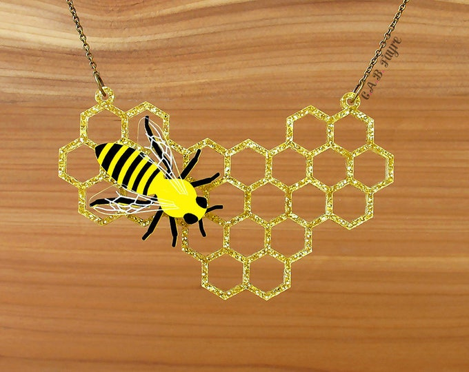 Featured listing image: READY MADE SALE - The Bee's Knees - Honeycomb Necklace - Laser Cut Necklace (C.A.B. Fayre Original Design)