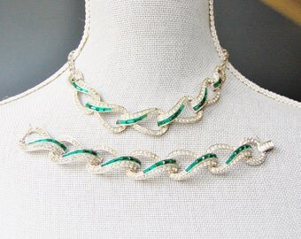 Vintage 1950s Marcel Boucher Emerald & Pavé Demi Parure Necklace and Bracelet Post-war As Is