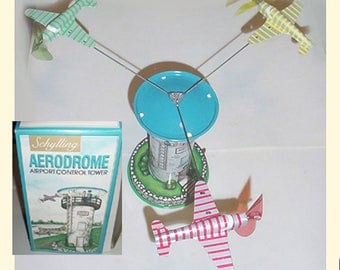 Schylling Aerodrome - Tin Airplanes -  Airport Control  Tower - Mechanical Tin Toy - Planes and Tower - Original Box -Great Toy