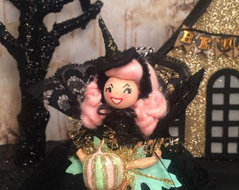 Witch ornament witch doll pink hair halloween doll halloween ornament fall decor black and pink party decor whimsical vintage retro inspired