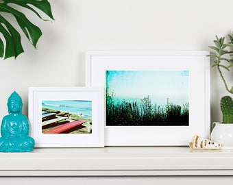 Moody Aqua Print - Turquoise wall decor, ocean botanical silhouette art print